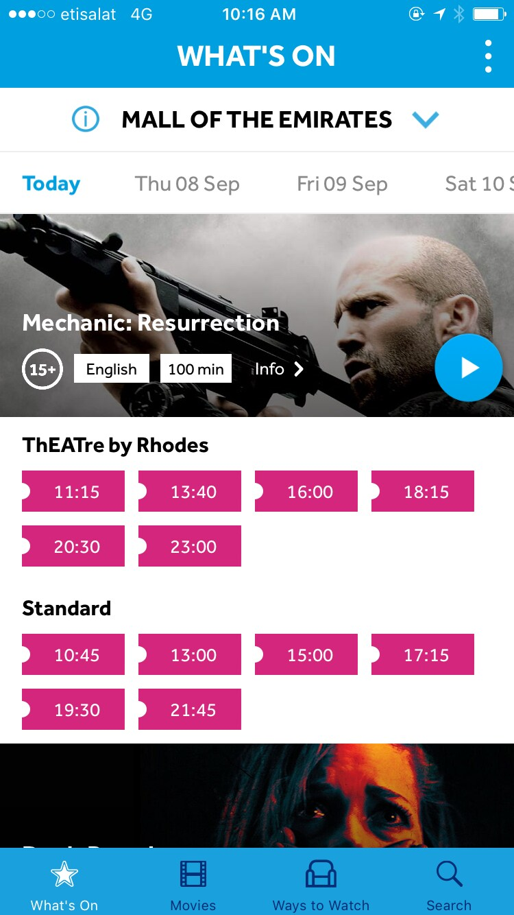VOX Cinemas AE app 'What's On Today' page