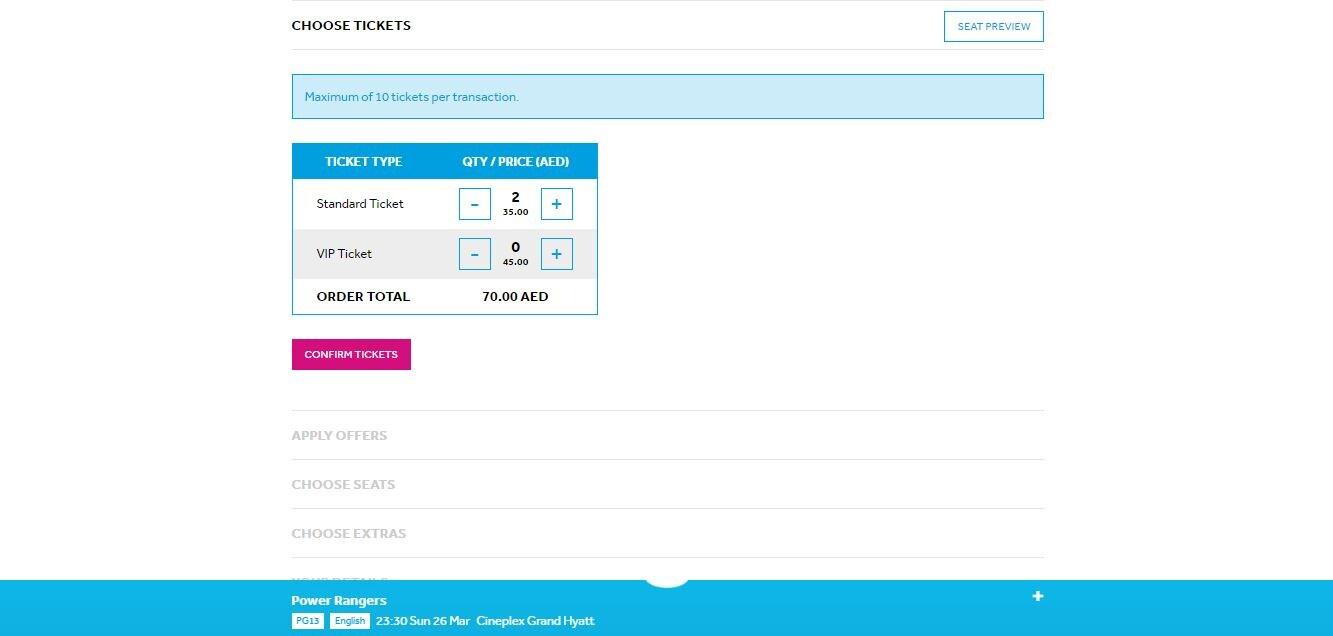 VOX Cinemas AE 'Choose Tickets' page