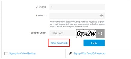 Reset Password – Online Banking – Bank with Us – Standard