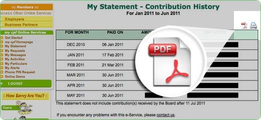 CPF Contribution History Statement Retrieval Guide - Standard